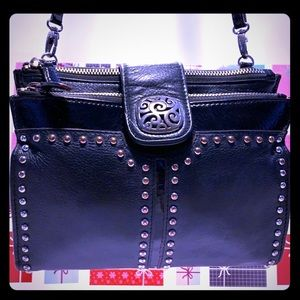 VTG Brighton  Black Leather CrossbodySling Purse